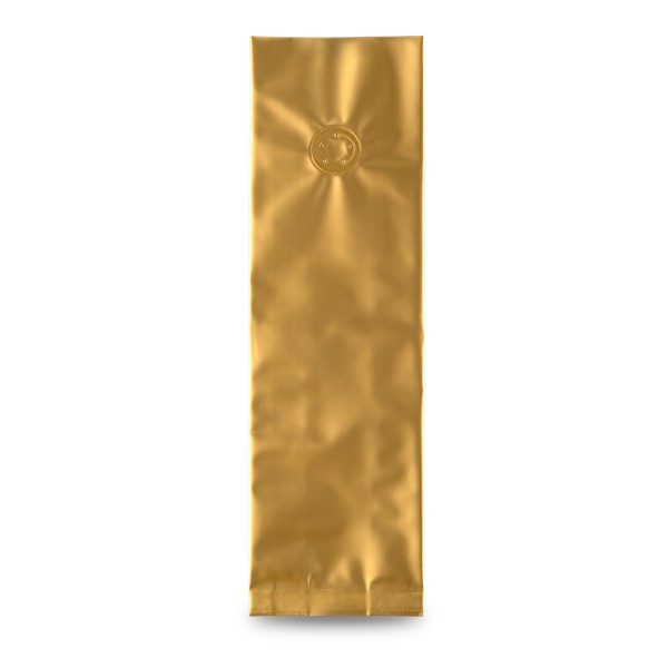 Seitenfaltenbeutel, matt-gold, mit Ventil