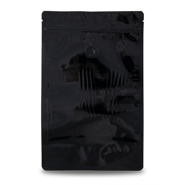 Standbodenbeutel, schwarz, mit Ventil